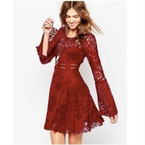 Free People Lace Lovers Folk Song Bell Dress Red 4